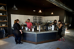 The customer service counter at Devout Coffee, photographed Tuesday, April 5, 2016, in Fremont, Calif. (Photo by D. Ross Cameron)