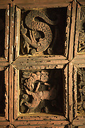 Wooden carvings depicting the story of Abune Aregawi ascending the serpent to Debre Damo. Debre Damo Church, West of Adigrat, Tigray Region. Ethiopia, Horn of Africa