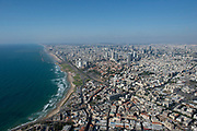 Aerial Photography of Tel Aviv, Israel view of the coast line as seen from south
