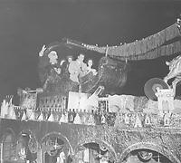 1957 Howard Duff & Ida Lupino in Santa Claus Lane Parade on Hollywood Blvd.