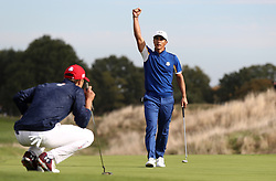 Team Europe's Thorbjorn Olesen celebrates victory on the fourteenth during the Singles match on day three of the Ryder Cup at Le Golf National, Saint-Quentin-en-Yvelines, Paris.