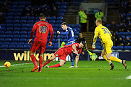 Cardiff City's Joe Mason © scores his teams 1st goal.  Skybet football league championship match, Cardiff city v Blackburn Rovers at the Cardiff city stadium in Cardiff, South Wales on Saturday 2nd Jan 2016.<br /> pic by Carl Robertson, Andrew Orchard sports photography.