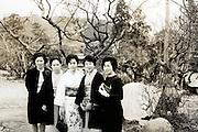 female group posing outside Japan 1960s