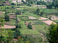 Rwanda- Small fields make up a patchwork in the valleys and hillsides of the Southern Province, Rwanda.