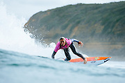 Courtney Conlogue of the USA (pictured) winning her Round 1 heat at the Rip Curl Pro Bells Beach on Thursday March 24, 2016. Conlogue posted a near perfect 9.17 (out of ten) to advance directly into Round 3. PHOTO: © WSL / Sloane SOCIAL MEDIA: @edsloanephoto @wsl This is a hand-out image from the World Surf League and is royalty free for editorial use only, no commercial rights granted. The copyright is owned by World Surf League. Sale or license of the images is prohibited. ALL RIGHTS RESERVED.