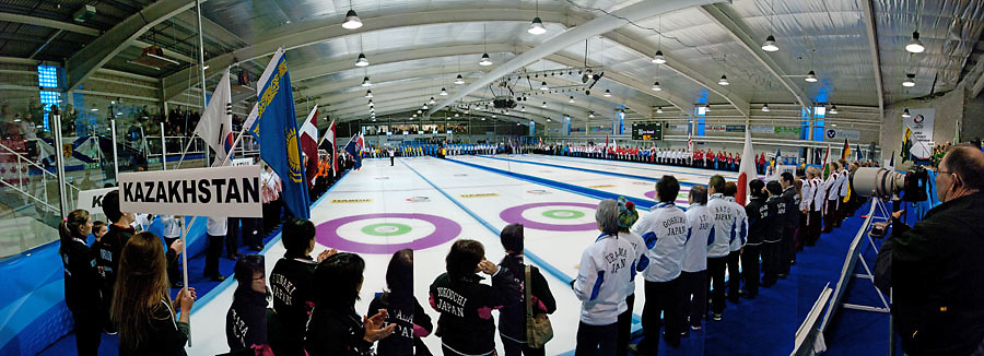 Opening Ceremony of the World Curling Championships in Dumfries, Scotland, April 2014