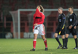 WREXHAM, WALES - Thursday, November 10, 2016: Wales' Ethan Ampadu dejected at full time against Greece after the UEFA European Under-19 Championship Qualifying Round Group 6 match at the Racecourse Ground. (Pic by Gavin Trafford/Propaganda)