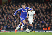 Chelsea attacker Eden Hazard (10) driving forward during the Champions League match between Chelsea and Paris Saint-Germain at Stamford Bridge, London, England on 9 March 2016. Photo by Matthew Redman.