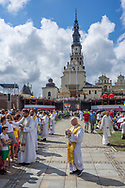 Church service on the field in front of Jasna Góra sanctuary in Czestochowa, Poland 2018.