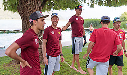 22.05.2017, Kalterer See, Kaltern, ITA, OESV, Nordische Kombinierer, Trainingskurs Kaltern, im Bild Philipp Orter, Bernhard Gruber, David Pommer, Trainer Christoph Bieler, Franz Josef Rehrl // during a Trainingscamp of Austrian Nordic Combined Team at the Kalterer Lake, Kaltern, Italy on 2017/05/22. EXPA Pictures © 2017, PhotoCredit: EXPA/ JFK