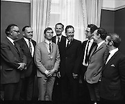 IAPI Special for New President of IAPI installed.<br /> 1970.<br /> 28.05.1970.<br /> 05.28.1970.<br /> 28th May 1970.<br /> At the first meeting of the new Council of the Institute of Advertising Practitioners in Ireland, held in the Shelbourne Hotel ,Dublin today, Mr Noel Cautley (O'Keefes Advertising Ltd) was elected new president and Mr B O'Kennedy (O'Kennedy Brindley Ltd) was elected vice president.<br /> <br /> Image shows the members of the new council: Mr Denis Garvey, Mr Oliver Walshe, Mr Noel Cautley, Mr Luke Dillon-Mahon, Mr Dermot Cafferky, Mr Stafford McConnell, Mr John Young and Mr Sean O'Bradaigh.