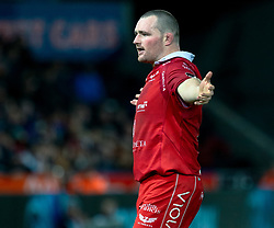 Ken Owens of Scarlets quizzical<br /> <br /> Photographer Simon King/Replay Images<br /> <br /> Guinness PRO14 Round 11 - Ospreys v Scarlets - Saturday 22nd December 2018 - Liberty Stadium - Swansea<br /> <br /> World Copyright © Replay Images . All rights reserved. info@replayimages.co.uk - http://replayimages.co.uk