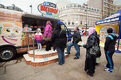 The Kingsmill Big Lunch Tour reaches Sheffield and puts the fun back into lunchtimes  in Fargate Sheffield on Wednesday...http://www.pauldaviddrabble.co.uk.11 April 2012 .Image © Paul David Drabble