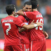 Turkey's Colin Kazim RICHARDS (C) celebrate his goal with team mate during their a international friendly soccer match Turkey betwen Estonia at TT Arena Istanbul August 10, 2011. Photo by TURKPIX
