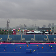 The Great Britain Women's Hockey Team training at the Riverbank Arena, venue for the Olympic Hockey Tournament during a rainy evening at Olympic Park, Stratford during the London 2012 Olympic games preparation. London, UK. 18th July 2012. Photo Tim Clayton