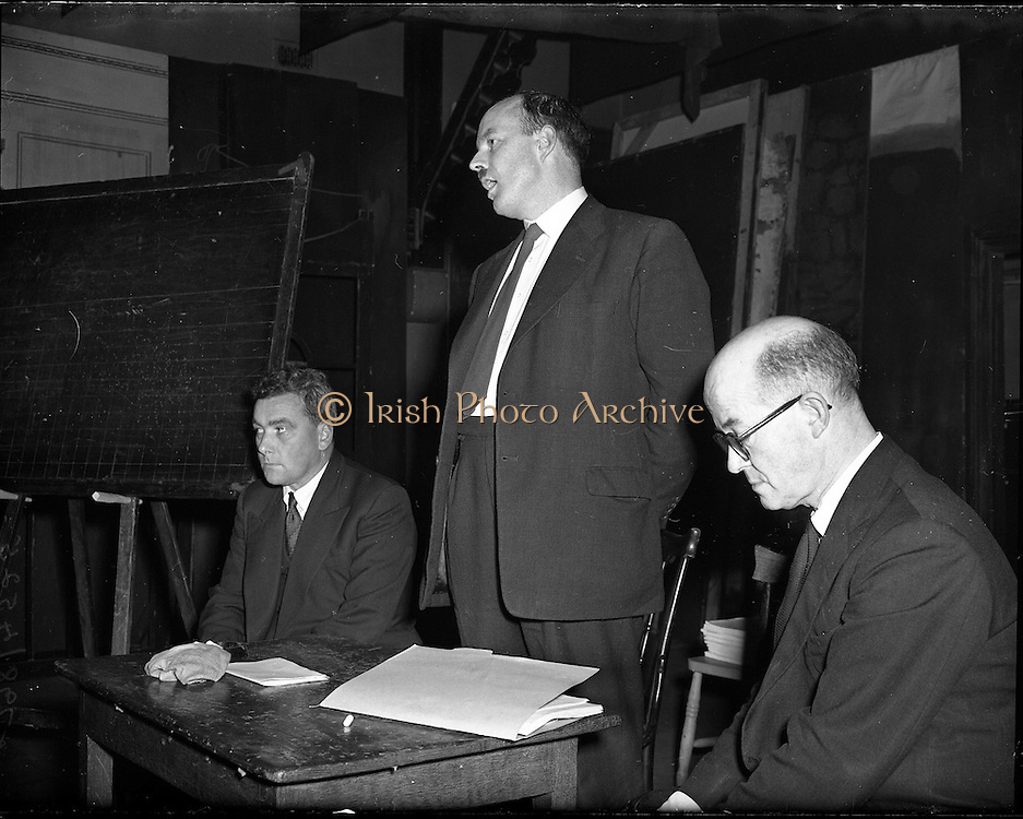 03/09/1958<br /> 09/03/1958<br /> 03 September 1958<br /> Opening of Gael Linn Drama Course at Damer Hall Dublin for Producers. image shows Donal Ó Morain, Chairman Gael Linn speaking at the opening.