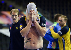 Niclas Ekberg of Sweden reacts after winning during the handball match between National Teams of Sweden and Slovenia at Day 3 of IHF Men's Tokyo Olympic  Qualification tournament, on March 14, 2021 in Max-Schmeling-Halle, Berlin, Germany. Photo by Vid Ponikvar / Sportida