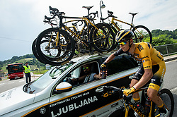 Luka Zele and Dylan HOPKINS of LJUBLJANA GUSTO SANTIC during 1st Stage of 27th Tour of Slovenia 2021 cycling race between Ptuj and Rogaska Slatina (151,5 km), on June 9, 2021 in Slovenia. Photo by Vid Ponikvar / Sportida