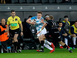 Leinster's Rory O'Loughlin fends Ospreys' Hanno Dirksen<br /> <br /> Photographer Simon King/Replay Images<br /> <br /> Guinness PRO14 Round 19 - Ospreys v Leinster - Saturday 24th March 2018 - Liberty Stadium - Swansea<br /> <br /> World Copyright © Replay Images . All rights reserved. info@replayimages.co.uk - http://replayimages.co.uk