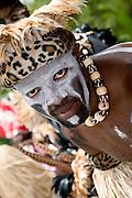 Performer and native Caribbean dancer in carnival parade, St. John, U.S. Virgin Islands.