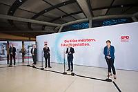 DEU, Deutschland, Germany, Berlin, 08.01.2021: Deutscher Bundestag, Pressestatement zur digitalen Jahresauftaktklausur der SPD-Bundestagsfraktion mit SPD-Chef Norbert Walter-Borjans, SPD-Fraktionschef Rolf Mützenich, Bundesfinanzminister Olaf Scholz und SPD-Chefin Saskia Esken.