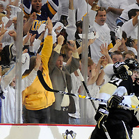 Pittsburgh Penguins right wing Bill Guerin celebrates with Pittsburgh Penguins center Evgeni Malkin and the Pittsburgh fans after scoring against the Washington Capitals in the third period of the third game of the 2009 Eastern Conference Semifinals at the Mellon Arena in Pittsburgh on May 6,  2009.      (UPI Photo/Archie Carpenter)