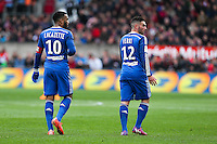 Alexandre LACAZETTE / Jordan FERRI - 04.04.2015 - Guingamp / Lyon - 31eme journee de Ligue 1<br />Photo : Vincent Michel / Icon Sport