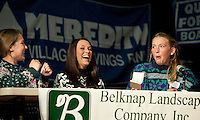 "The ""Ugly Sweaters"" team of GHS students Lauren Pereira, Brianna Bowen and Katherine Rice are surprised as they make it through the third round of the annual LRSF Spelling Bee and Laconia High School Thursday evening.  (Karen Bobotas/for the Laconia Daily Sun)"
