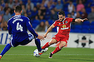 Craig Conway of Blackburn Rovers ® has a shot at goal blocked by Sean Morrison of Cardiff city. EFL Skybet championship match, Cardiff city v Blackburn Rovers at the Cardiff city stadium in Cardiff, South Wales on Wednesday 17th August 2016.<br /> pic by Andrew Orchard, Andrew Orchard sports photography.