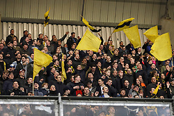 fans of NAC Breda during the Dutch Eredivisie match between ADO Den Haag and NAC Breda at Cars Jeans stadium on March 10, 2018 in The Hague, The Netherlands