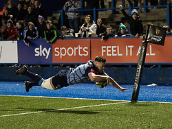 Cardiff Blues' Owen Lane scores his sides third try<br /> <br /> Photographer Simon King/Replay Images<br /> <br /> Guinness PRO14 Round 15 - Cardiff Blues v Munster - Saturday 17th February 2018 - Cardiff Arms Park - Cardiff<br /> <br /> World Copyright © Replay Images . All rights reserved. info@replayimages.co.uk - http://replayimages.co.uk