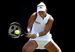 Angelique Kerber in action against Vera Zvonareva on day two of the Wimbledon Championships at the All England Lawn Tennis and Croquet Club, Wimbledon.