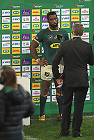 Rugby Union - 2021 British & Irish Lions Tour of South Africa - Second Test: South Africa vs British & Irish Lions<br /> <br /> Springboks captain Siya Kolisi is interviewed after the game, at Cape Town Stadium, Cape Town.<br /> <br /> COLORSPORT / JOHAN ORTON
