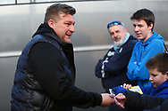 Oxford United manager Karl Robinson arrives at the stadium during the EFL Sky Bet League 1 match between Burton Albion and Oxford United at the Pirelli Stadium, Burton upon Trent, England on 2 February 2019.