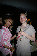 Fawzilla Laurent and Laura Pullman, Laurent Perrier Pop Art Pink party. Suka at Sanderson. Berners St. London. 25 April 2007.  -DO NOT ARCHIVE-© Copyright Photograph by Dafydd Jones. 248 Clapham Rd. London SW9 0PZ. Tel 0207 820 0771. www.dafjones.com.