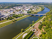 Aerial photograph of downtown Des Moines, Iowa, USA on a beautiful summer afternoon.