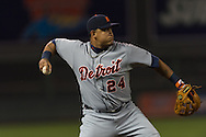 Miguel Cabrera (24) of the Detroit Tigers makes a throw to 1st base during a game against the Minnesota Twins on August 14, 2012 at Target Field in Minneapolis, Minnesota.  The Tigers defeated the Twins 8 to 4.  Photo: Ben Krause