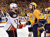 NASHVILLE, TN - MAY 22:  Ryan Kesler #17 of the Anaheim Ducks shakes hands with of the Nashville Predators after a 6-3 Predators victory over the Ducks in Game Six of the Western Conference Final during the 2017 NHL Stanley Cup Playoffs at Bridgestone Arena on May 22, 2017 in Nashville, Tennessee.  (Photo by Frederick Breedon/Getty Images)