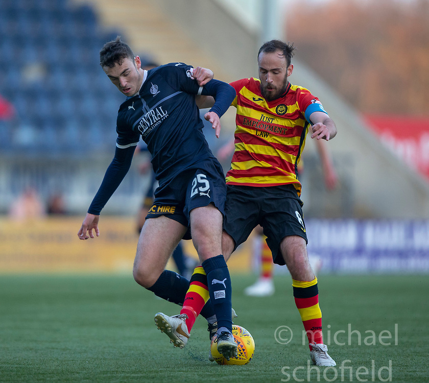 Falkirk's Andrew Irving and Partick Thistle's Niall Keown. half time : Falkirk 0 v 0 Partick Thistle, Scottish Championship game played 17/11/2018 at The Falkirk Stadium.