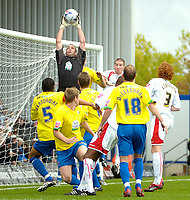 Photo: Ed Godden.<br /> Milton Keynes Dons v Hereford United. Coca Cola Championship. 21/10/2006.  Hereford keeper Wayne Brown catches the ball from the corner.
