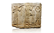 Hittite monumental relief sculpted orthostat stone panel of Procession. Limestone, Karkamıs, (Kargamıs), Carchemish (Karkemish), 900-700 B.C. Anatolian Civilisations Museum, Ankara, Turkey.<br /> <br /> Musicians. Two musicians with short arms, wearing long dresses and wide belts; one plays a Saz (a stringed musical instrument) with tassels on the handle while the other plays the flute. The third small figure holds castanets (?) in his hands. The figure on the right wears a short skirt, contrary to the others. She dances over her finger tips with her hands over her head.  <br /> <br /> Against a white background. .<br />  <br /> If you prefer to buy from our ALAMY STOCK LIBRARY page at https://www.alamy.com/portfolio/paul-williams-funkystock/hittite-art-antiquities.html  - Type  Karkamıs in LOWER SEARCH WITHIN GALLERY box. Refine search by adding background colour, place, museum etc<br /> <br /> Visit our HITTITE PHOTO COLLECTIONS for more photos to download or buy as wall art prints https://funkystock.photoshelter.com/gallery-collection/The-Hittites-Art-Artefacts-Antiquities-Historic-Sites-Pictures-Images-of/C0000NUBSMhSc3Oo