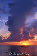 dive boat heads out at sunrise for a dawn dive at Sipadan Island, off Borneo, Sabah, Malaysia, ( Celebes Sea )