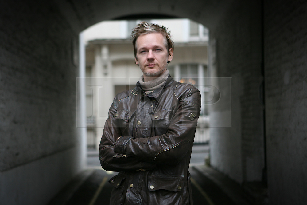 Jondon News Pictures 29/11/10.Julian Assange, Australian computer programmer, hacker, and internet activist best know for his involment with Wikileaks as an editor in Chief, poses for photographs in Paddington, West London, UK on Monday the 4 of October  2010 Picture credit should read: Carmen Valino/London News Pictures