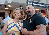 Garden City, New York, U.S. July 20, 2019. At left, Nassau County Executive LAURA CURRAN and man smile pointing at each other at the Moon Fest Apollo at 50 Countdown Celebration at Cradle of Aviation Museum in Long Island, held during the same time Apollo 11 Lunar Module landed on the Moon 50 years ago.