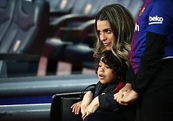 January 7, 2018 - Barcelona, Catalonia, Spain - Barbara Cartaxo, Paulinho's wife, with her children before La Liga match between FC Barcelona and Levante UD, in Barcelona, on January 07, 2018. (Credit Image: © Joan Valls/NurPhoto via ZUMA Press)