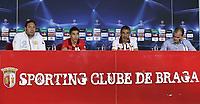 20100817: BRAGA, PORTUGAL - Sevilla FC training session before UEFA Champions League 2010/2011 Play-off match against SC Braga. In picture: Jesus Navas (2nd L) and coach Antonio Alvarez Giraldez (3rd L) at the pre-match press conference. PHOTO: CITYFILES