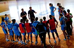 Bostjan Brulec and Primoz Pori with girls at practice of Slovenian Handball Women National Team, on June 3, 2009, in Arena Kodeljevo, Ljubljana, Slovenia. (Photo by Vid Ponikvar / Sportida)