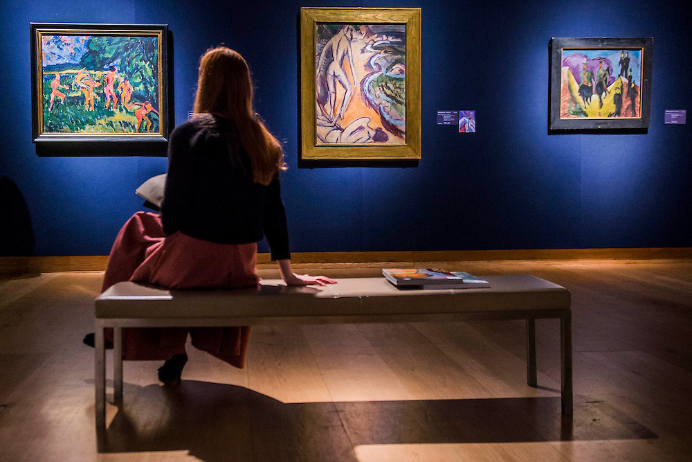Die Brücke art: Badende am Waldteich by Erich Heckel, est £1.2m-2m,  along with key works by Ernst Ludwig Kirchner and Karl Schmidt-Rottluff (l to r) - Christie's Impressionist, Modern and Surrealist Art pre-sale exhibition ahead of the Evening sale on 4 February. Highlights include: Cézanne's Vue sur L'Estaque et Le Château d'If, from the collection of Samuel Courtauld, which is coming to the market for the first time since it was acquired 79 years ago, in 1936 (estimate: £8-12 million); The most valuable group of Surrealist art ever to be offered at auction, featuring a group of works by Magritte and Miró, led by Joan Miró's L'oiseau au plumage déployé vole vers l'arbre argenté, 1953, from a Distinguished European Collection (estimate: £7-9 million); Amedeo Modigliani's rare double portrait Les deux filles, 1918 (estimate: £6-8 million); Femme de Venise V by Alberto Giacometti (estimate: £6-8 million); Juan Gris's La Lampe, 1914, which is considered to be among the artist's greatest contributions to Cubism (estimate: £2.5-3.5 million); Paysage à L'Estaque, 1907, by Georges Braque (estimate: £2-3 million); An important group of German works from the collection of industrial chemist Carl Hagemann, representing three of the four founding artists of the Die Brücke movement, led by one of the masterpieces of Die Brücke art: Badende am Waldteich by Erich Heckel, along with key works by Ernst Ludwig Kirchner and Karl Schmidt-Rottluff; and other important works by Chagall, Moore, Picabia, Arp, Ernst, Tanguy and Dominguez. The auction has a total pre-sale estimate of £92.8 million-£133.8 million. Christie's, King Street, London, UK.