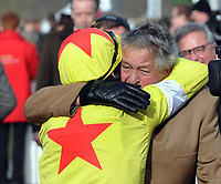 National Hunt Horse Racing - 2020 Cheltenham Festival - Wednesday, Day Two (Ladies Day)<br /> <br /> Winner, Harry Skelton on Politologue gets a hug from Owner Jack Hales in the 15.30 Betway Queen Mother Champion Steeple chase (Grade 1), at Cheltenham Racecourse.