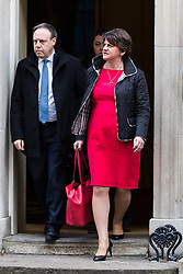London, November 21 2017. Nigel Dodds and Arlene Foster of the DUP leave No 10 after leaders of Northern Ireland's two main political parties the DUP and Sinn Fein met separately with British Prime Minister Theresa May at Downing Street. © Paul Davey